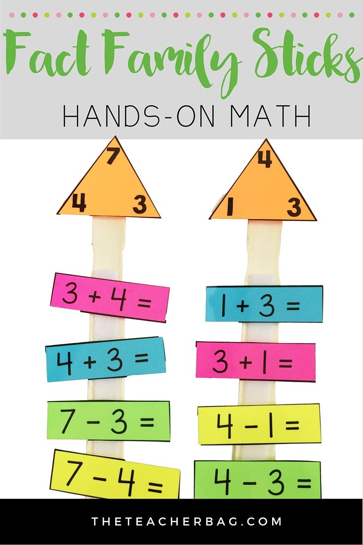 Fact family sticks- use paint sticks to create a hands-on way to practice fact  families.   Fact families [ 1102 x 735 Pixel ]
