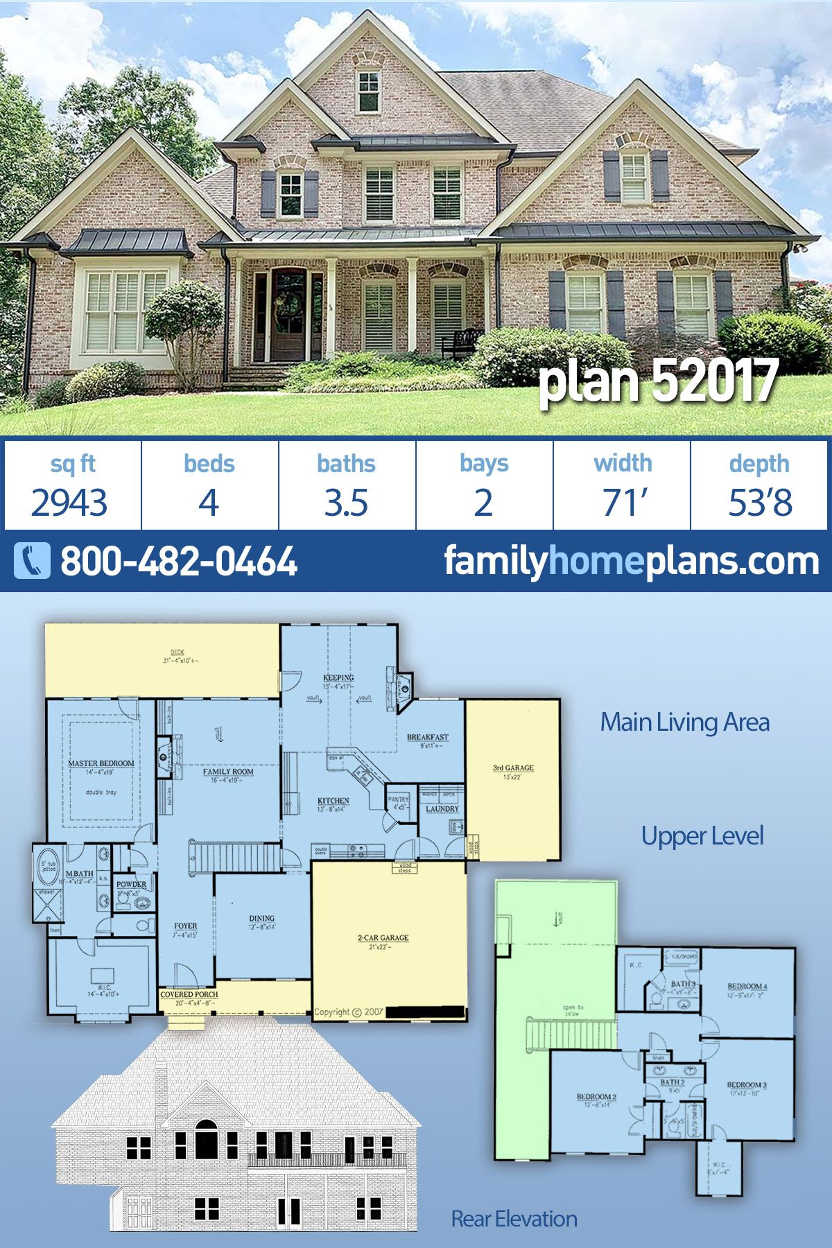 Traditional Style House Plan 52017 With 4 Bed 4 Bath 2 Car Garage Family House Plans Brick House Plans House Plans One Story