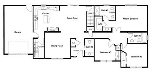 3 bedroom, 2 ½ bath open modular floor plan created and