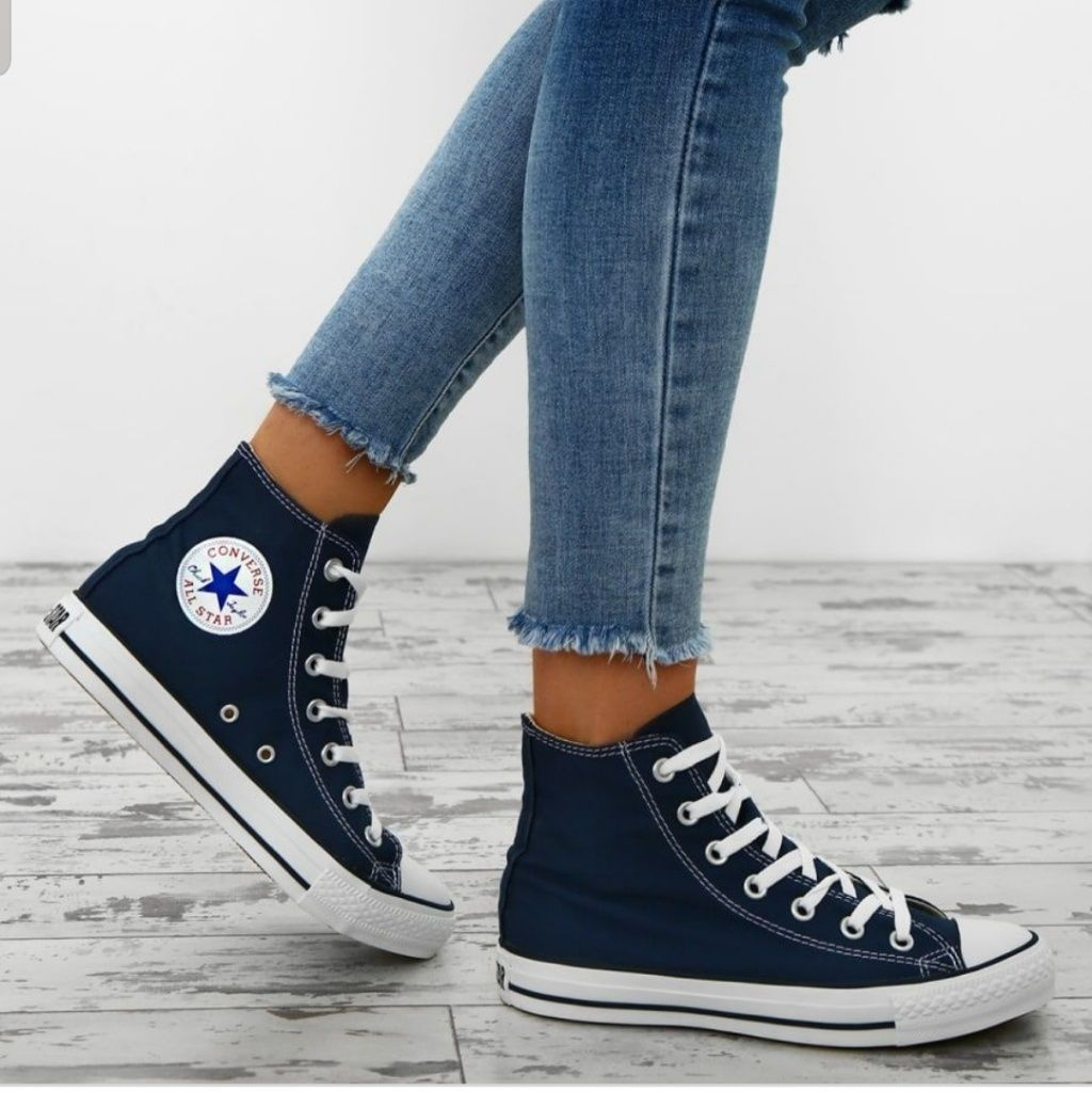 Navy high top converse in 2020 | Blue
