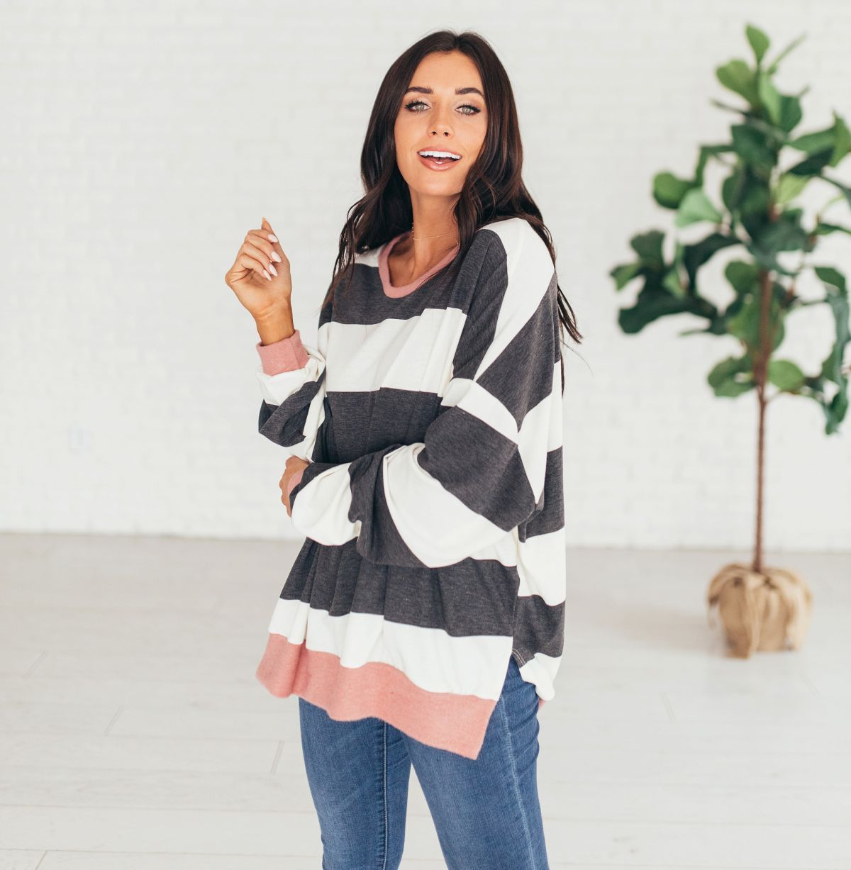 e628eae7bb7 ad Flattering loose fit on this broad striped sweatshirt. 3 colors and only   25.99. .  sixsistersstyle  sweatshirt  instafashion  igstyle  ootd   ootdshare