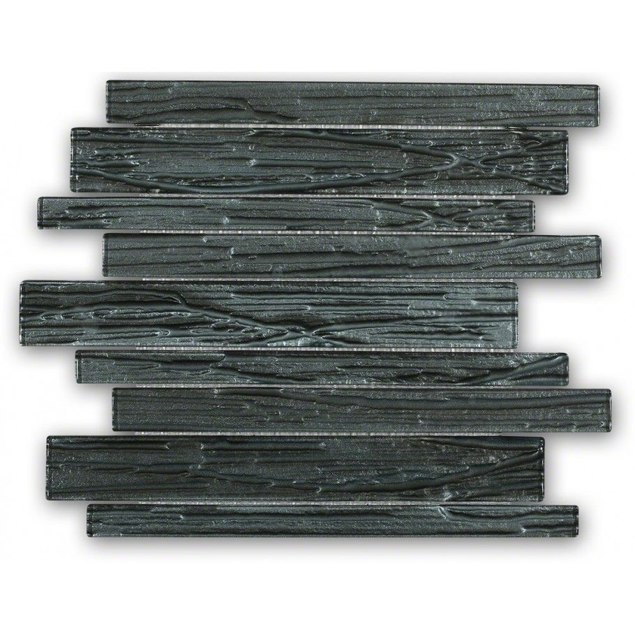 Accent wall terrene black locust planks polished glass tile