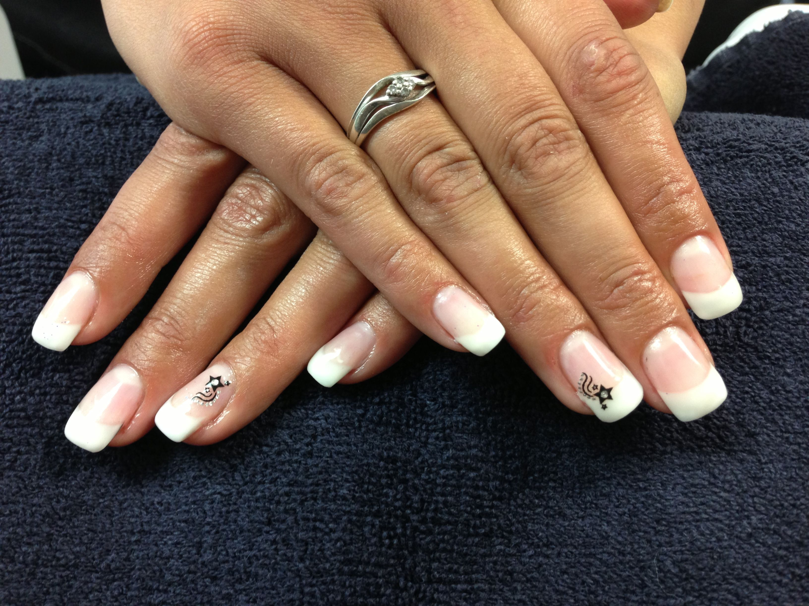 Krystal\'s nails. Simple French with sticker accent. Gel nail art ...