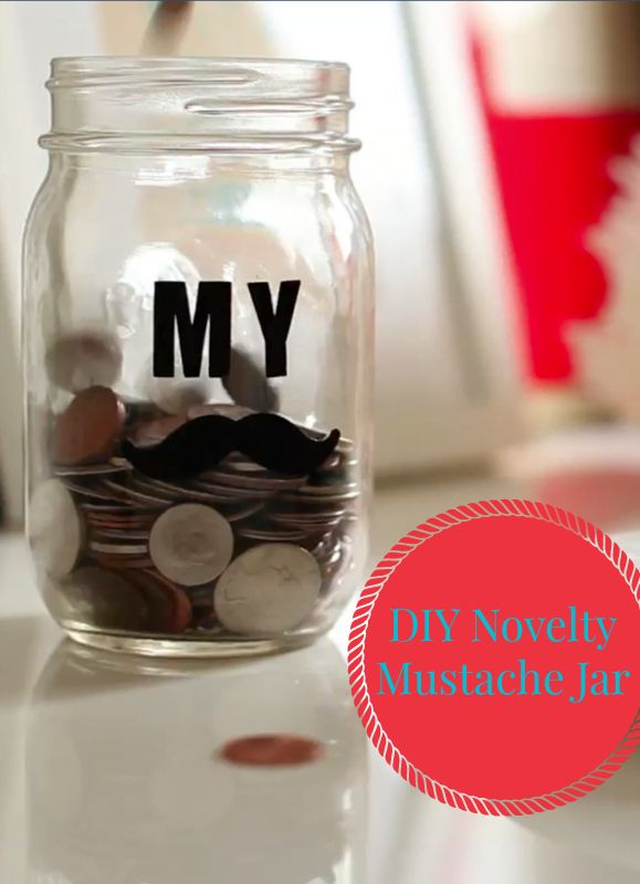 Video DIY: We love this cute and quirky mustache jar! It's perfect for holding your change, a bouquet of daisies, or hey - all your fake mustaches! Make it yours in minutes with this easy step-by-step tutorial!