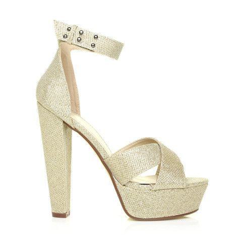 3a6d8d3b554 WHITNEY Champagne Gold Ankle Strap Platform High Heel Sandals – ShuWish UK  - Fall head over heels in love with this seasons heels featuring a thick  strappy ...