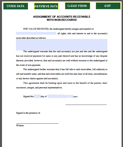Assignment Of Accounts Receivable With Non Recourse  Forms