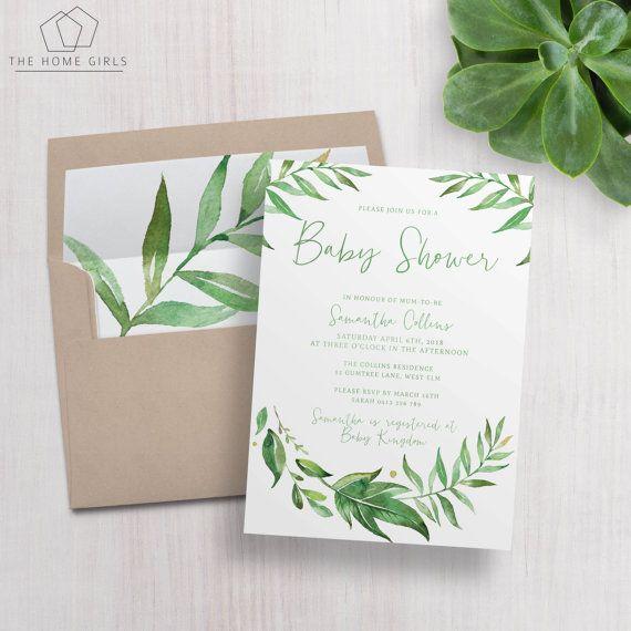 Printable Leafy Baby Shower Invitation Editable Template - editable leaf template