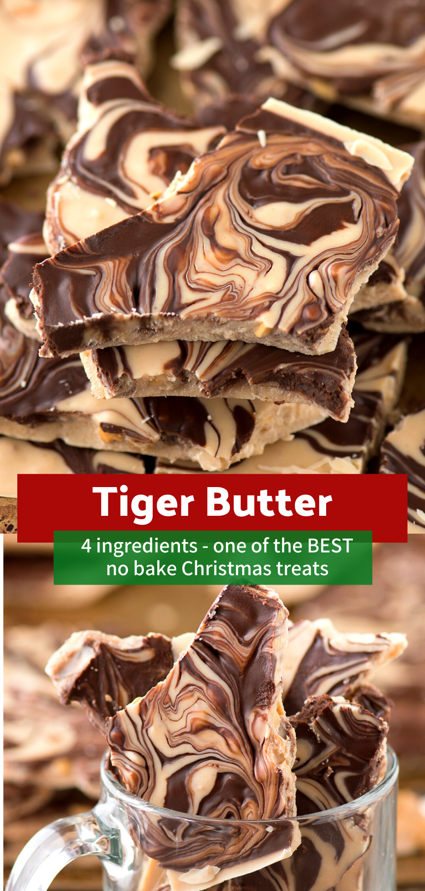 Tiger Butter This 4 ingredient tiger butter bark is highly addictive and receives tons of compliments Its a great holiday dessert to bring to parties or add to a cookie p...