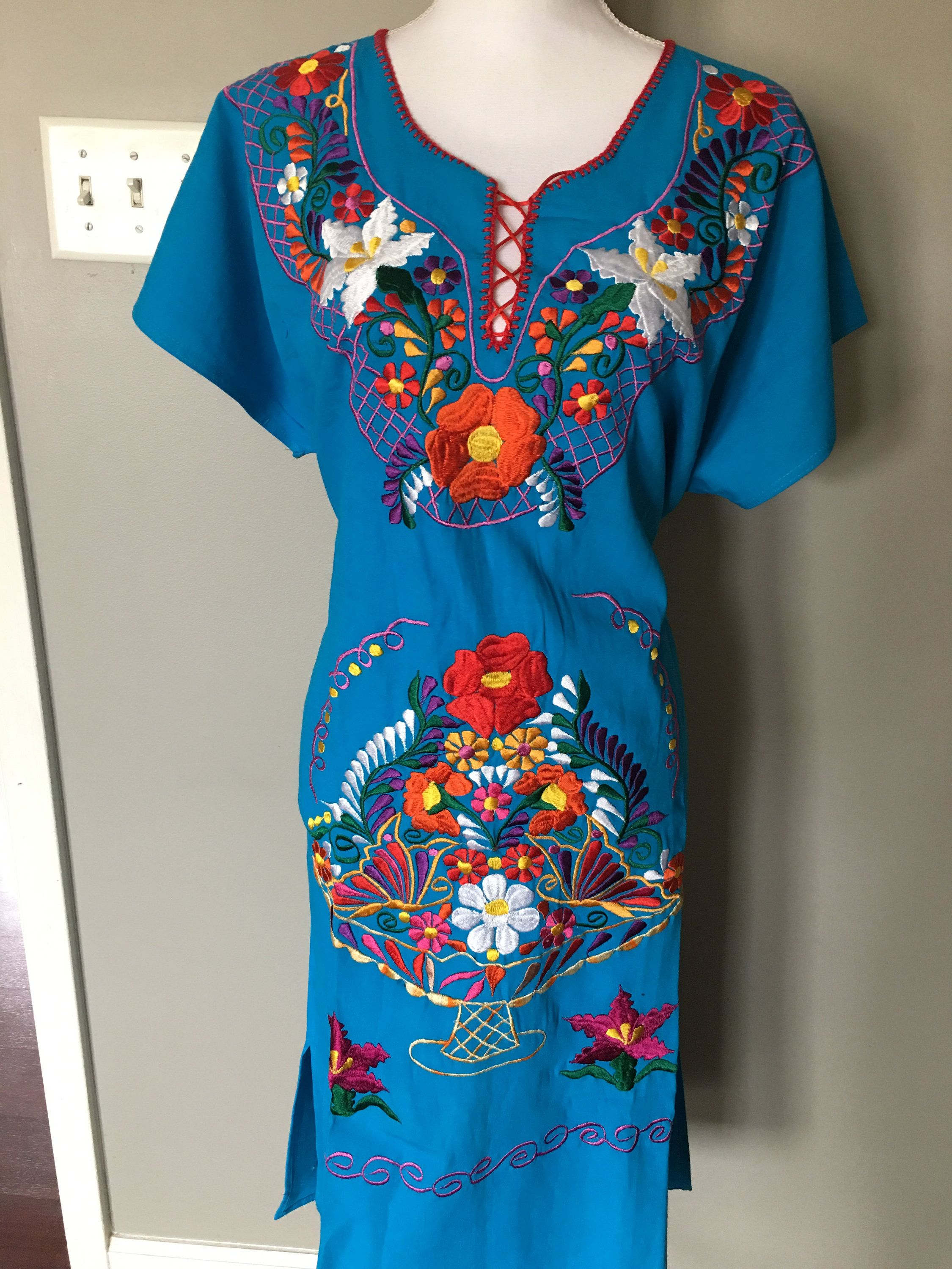 Handmade Mexican Dress. Beautiful Traditional Blue Dress Mexican Colorful Embroidered Dress