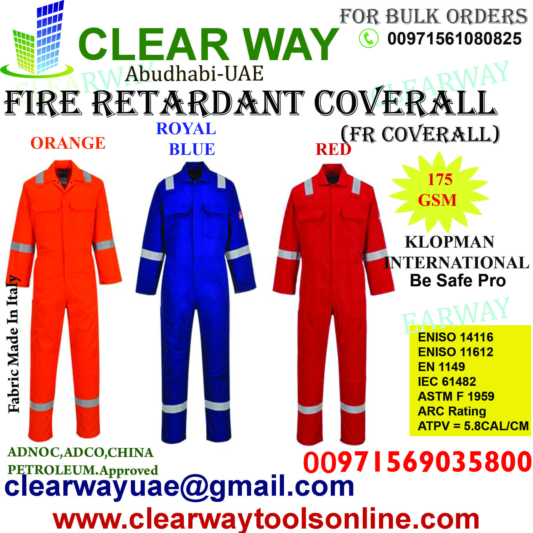 Klopman International Fire Retardant Coverall Fr Coverall Be Safe Pro Dealer In Mussafah Abudhabi Coveralls First Aid Kit Contents Fire Retardant