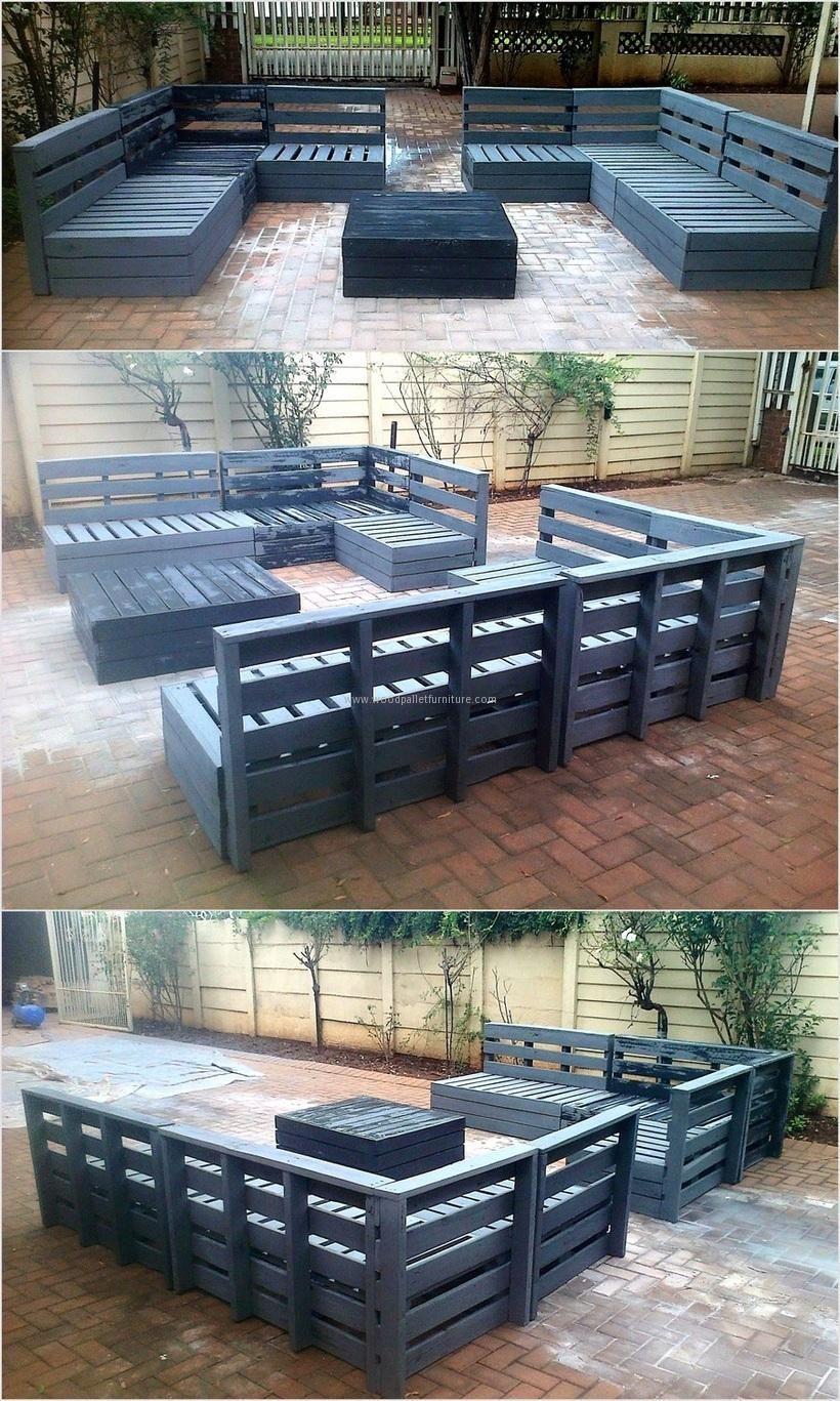 U Shape Patio Pallet Sofa Set Loving Home Decor Collections  # Muebles Sala Set