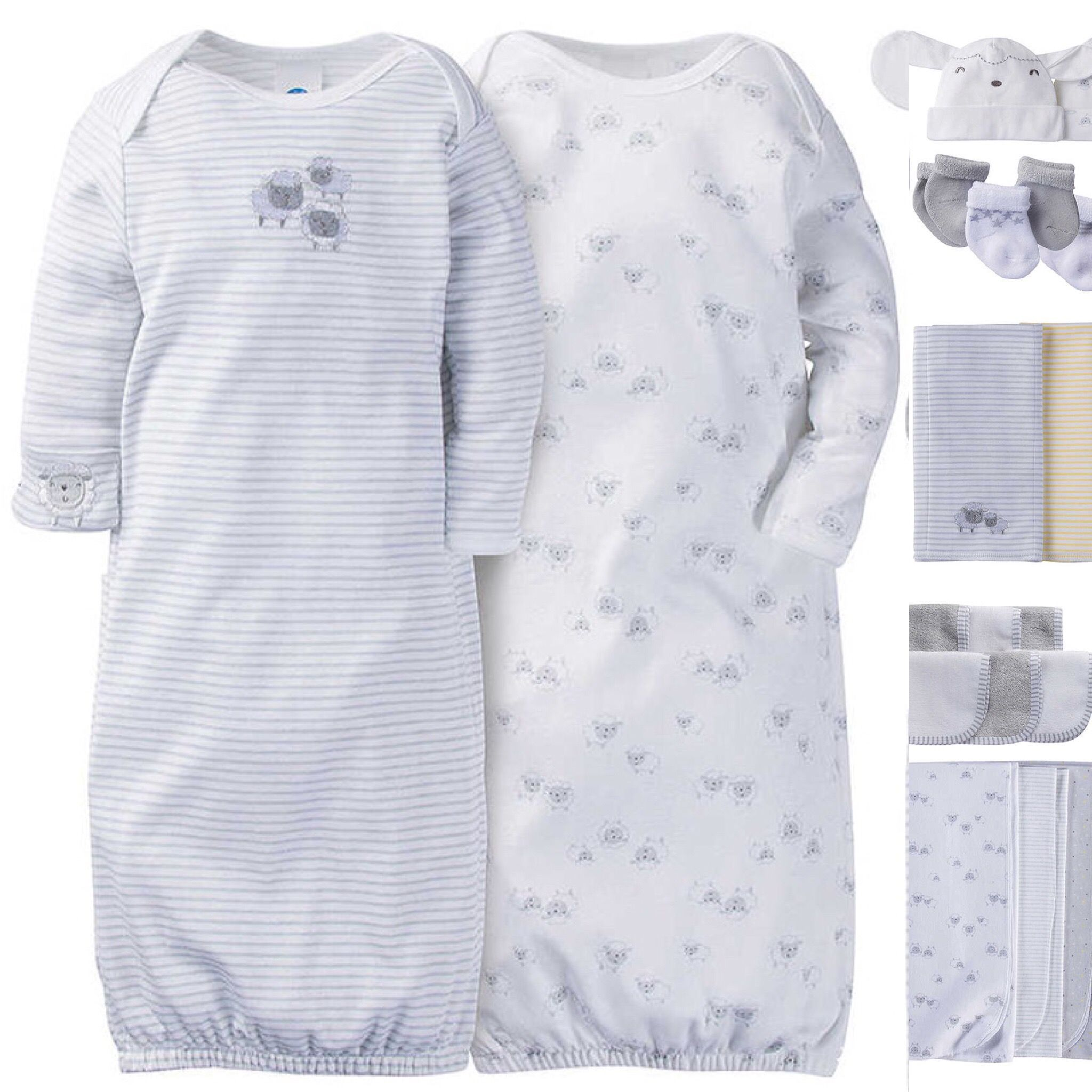 Gerber Baby Layette - Neutral Lamb Gowns (*coordinating accessories ...