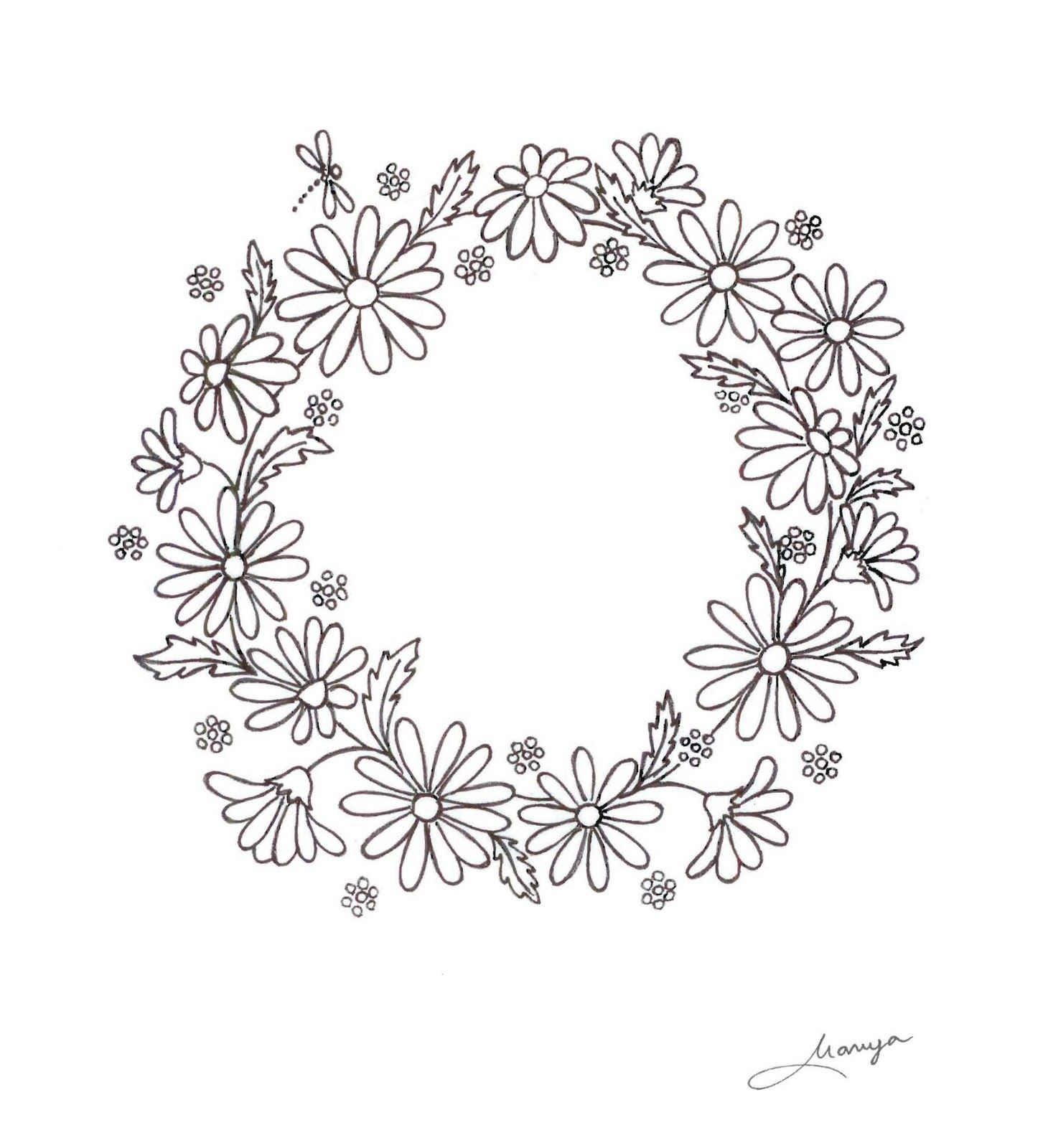 daisy wreath - I used this pattern to put about a quarter of this circle on my son's ringbearer pillow. Then the wide yellow ribbon across the middle. Beautiful!