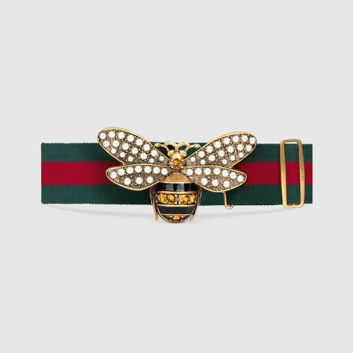 fa9dcac6b79 Gucci Web belt with bee - ShopStyle