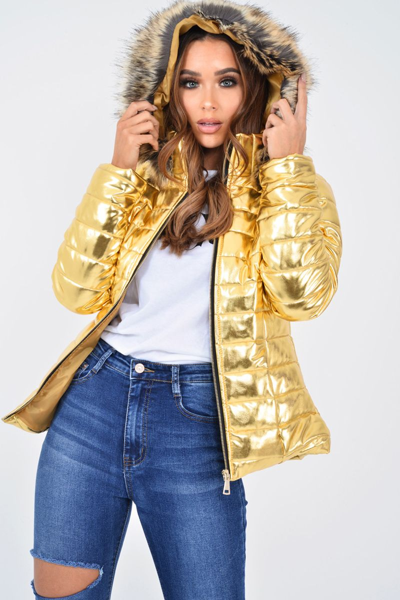 Gold Wet Look Puffer Coat Soph Best Winter Jackets Puffy Jacket Outfit Puffer Coat [ 1200 x 800 Pixel ]