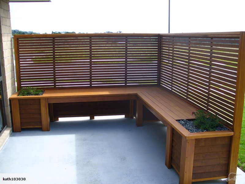 Corner Outdoor Bench Planters With