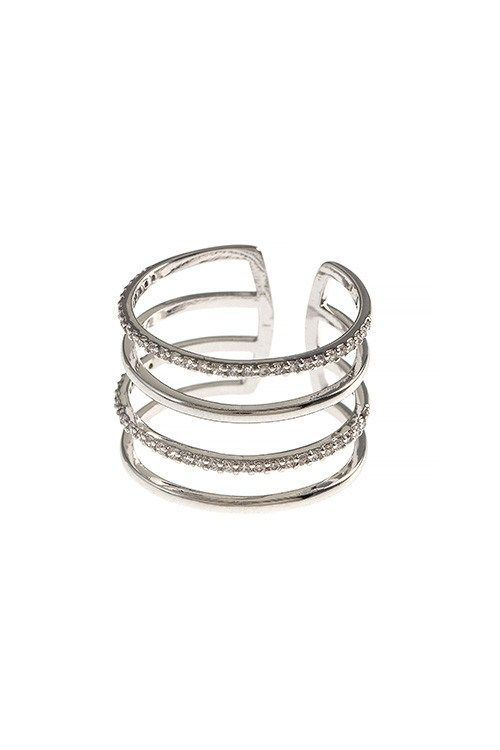 CAGED CZ LINED STRIPED RING