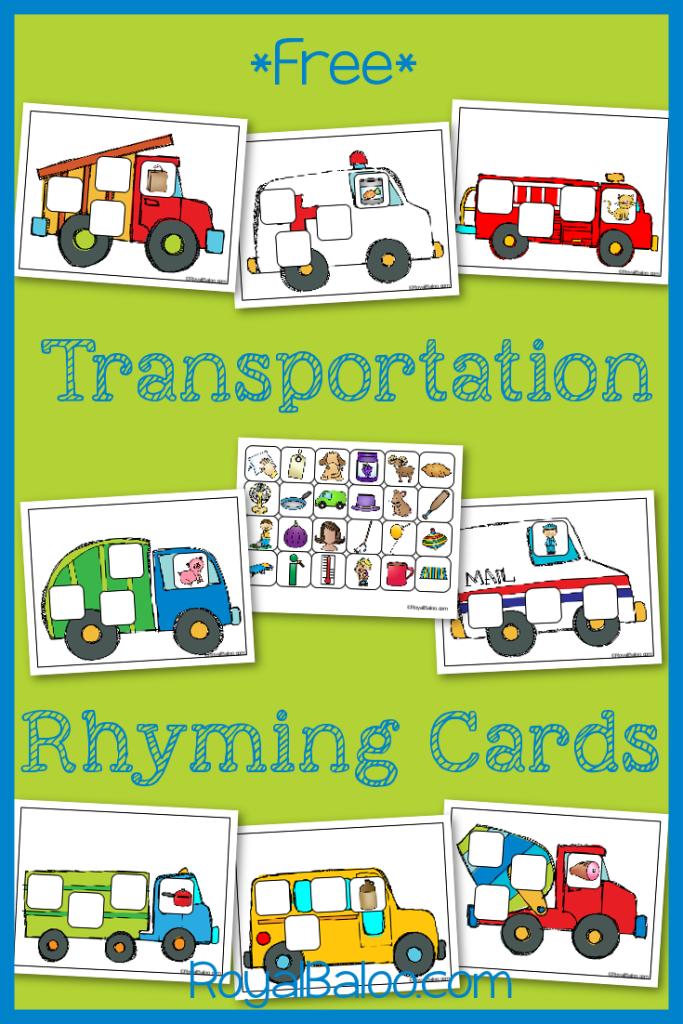 Transportation Rhyming Cards Royal Baloo Transportation Theme Preschool Transportation Preschool Activities Transportation Preschool
