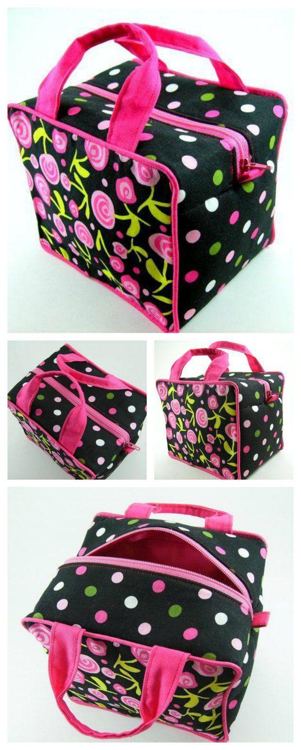 Stunning boxy cosmetics bag | Taschen nähen, Nähen und Quilt tasche