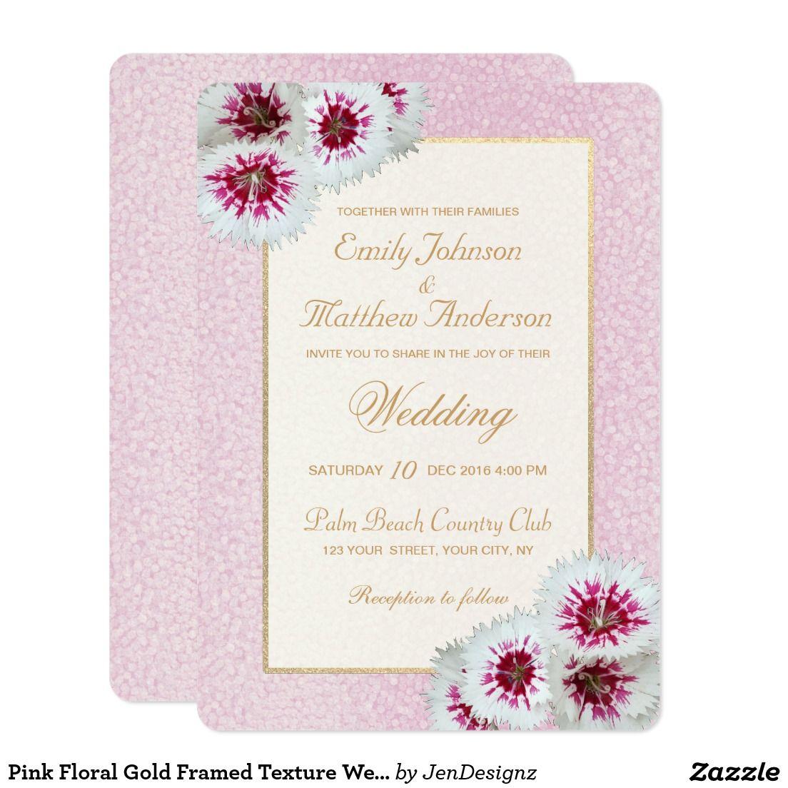 Pink Floral Gold Framed Texture Wedding Invitation | Pink, Floral ...