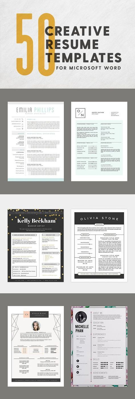 50 Creative Resume Templates You Won\u0027t Believe are Microsoft Word