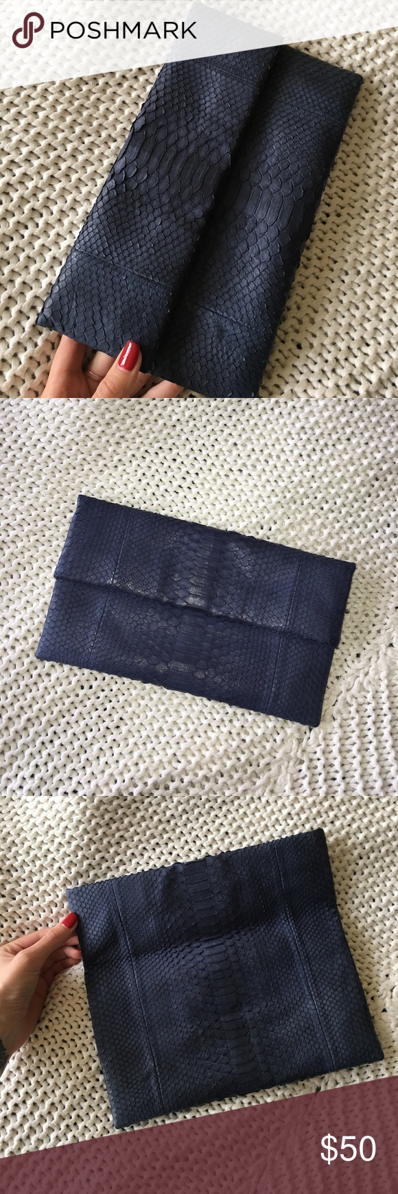 leather snakeskin clutch Dusty blue leather clutch. Measurements shown. I purchased this in high end boutique in Phuket Thailand..it was never used. ❤️ listed as Zara for views. Zara Bags Clutches & Wristlets