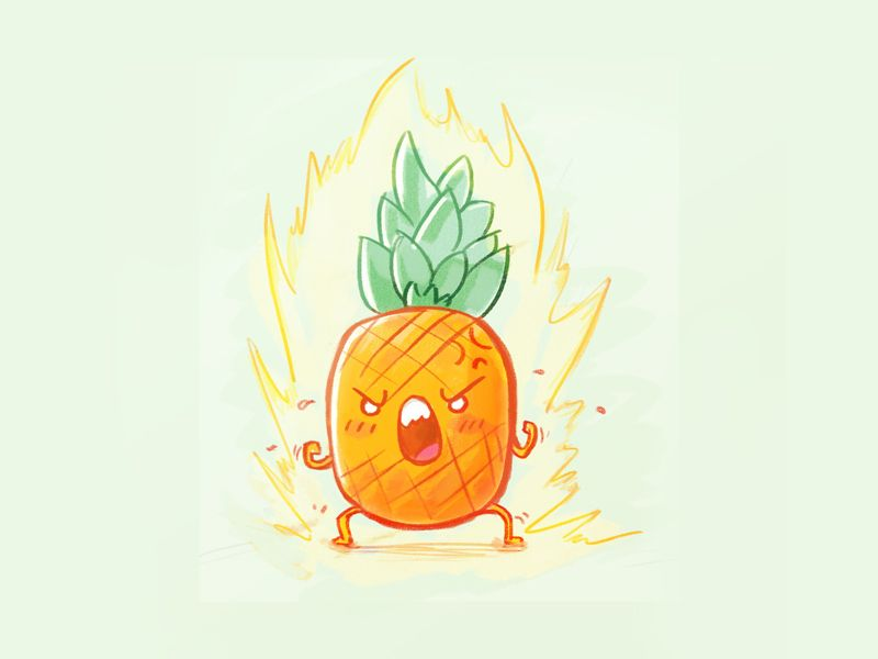 Angry Pineapple With Images Pineapple Drawing Pineapple Art