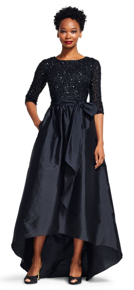 a89e7c6efa Adrianna Papell Taffeta Ball Gown With Beaded Bodice Black  AdriannaPapell   Gown  EveningCovered