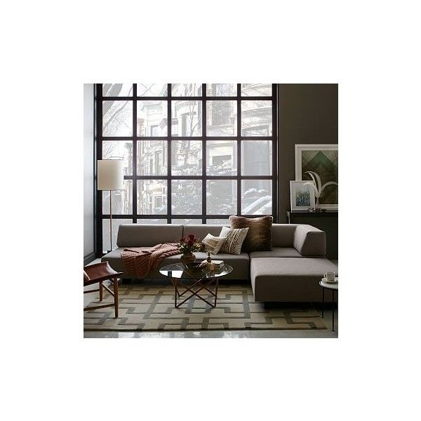 West Elm Tillary Set 2- ( Base, Back Cushions, 2 Ottomans, Corner... (€1.945) ❤ liked on Polyvore featuring home, furniture, sofas, tan sofa, taupe sofa, velvet sofa, mocha sofa and low sofa