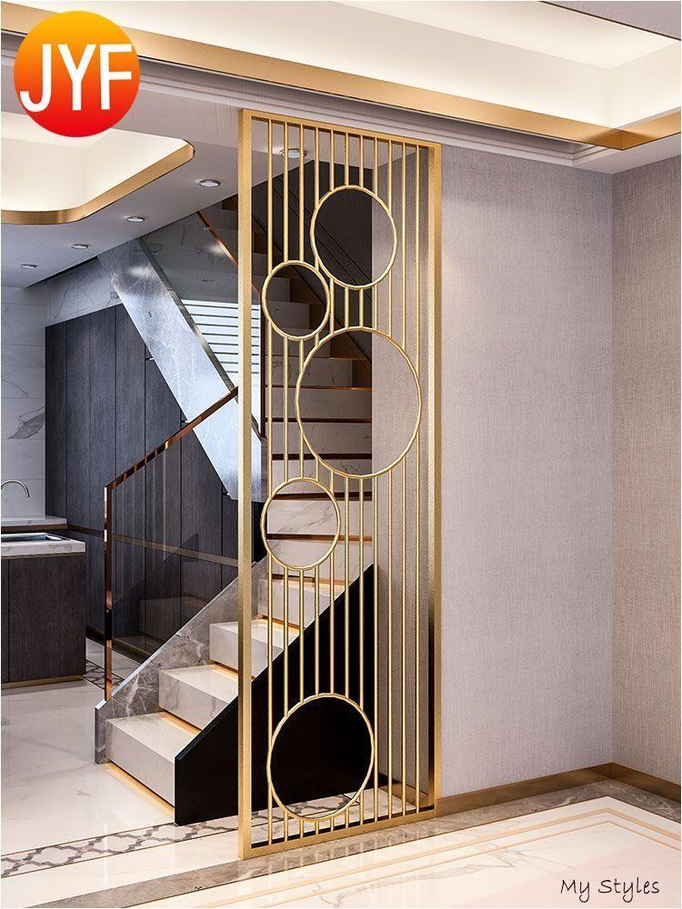 Stainless Steel Channel Metal Decor Removable Flexible Room Screen Divider 4 Panel Design Low C In 2020 Wall Partition Design Room Door Design Pooja Room Door Design