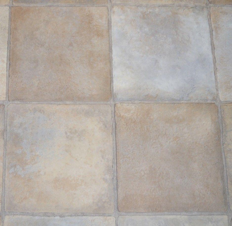 NEW BEIGE SLATE Tile look Sheet VINYL FLOORING Floor Covering DIY 4m ...