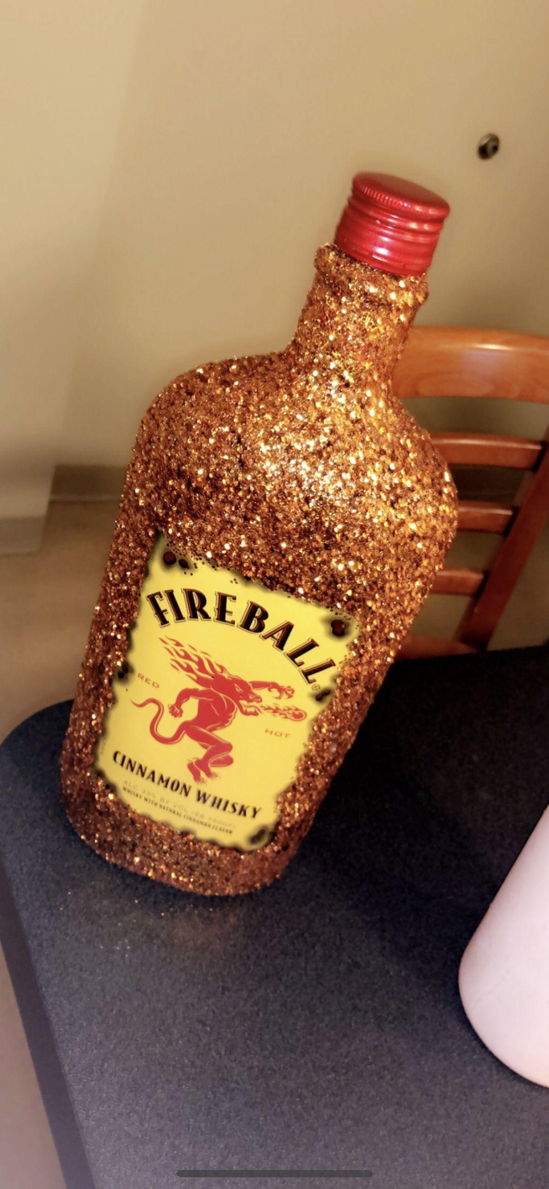 Bedazzledglitter fireball bottle made for best friends
