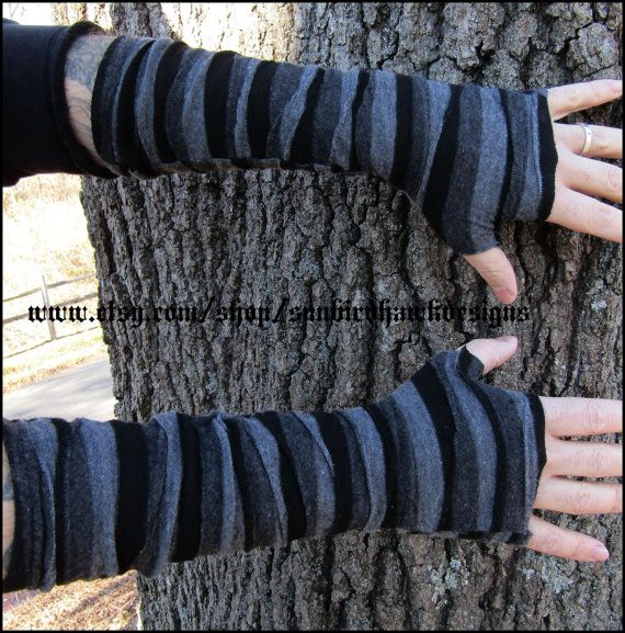 Striped Black and Grey wrist bracers, fingerless gloves, arm warmers ...