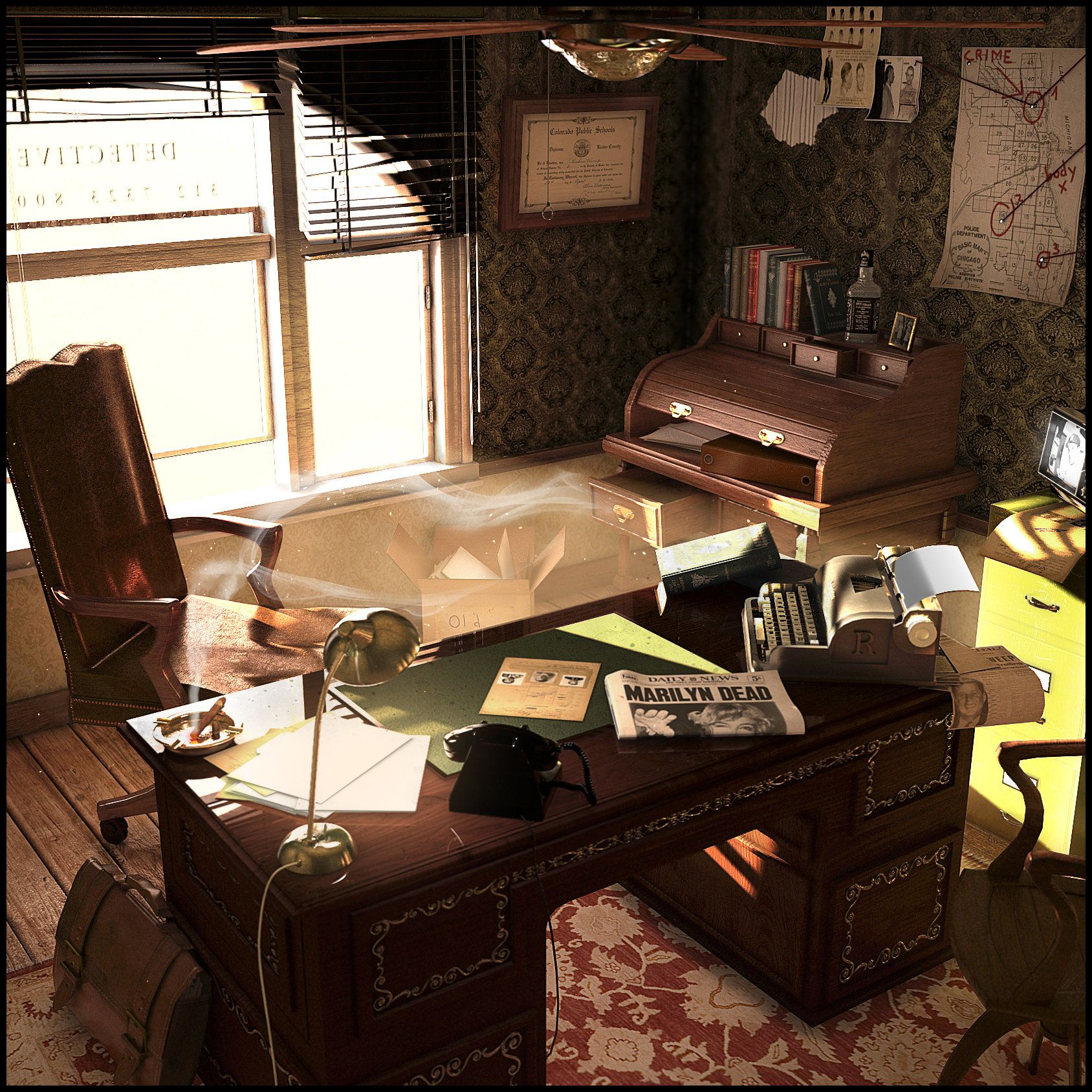 Home Office Decor For Private Impression: ArtStation - 70's Detective Office, Anton Freixas