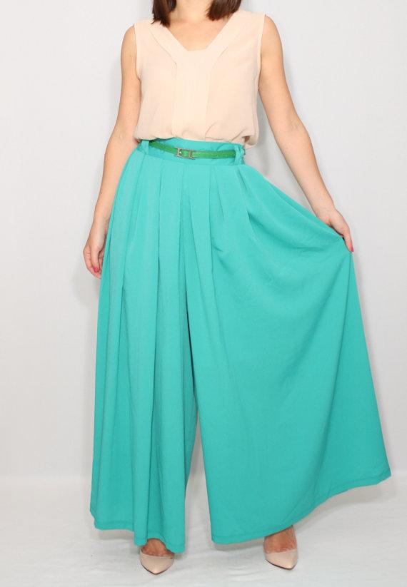 c14b93aca22 Mint green skirt pants Palazzo pants Fashion pant by dresslike