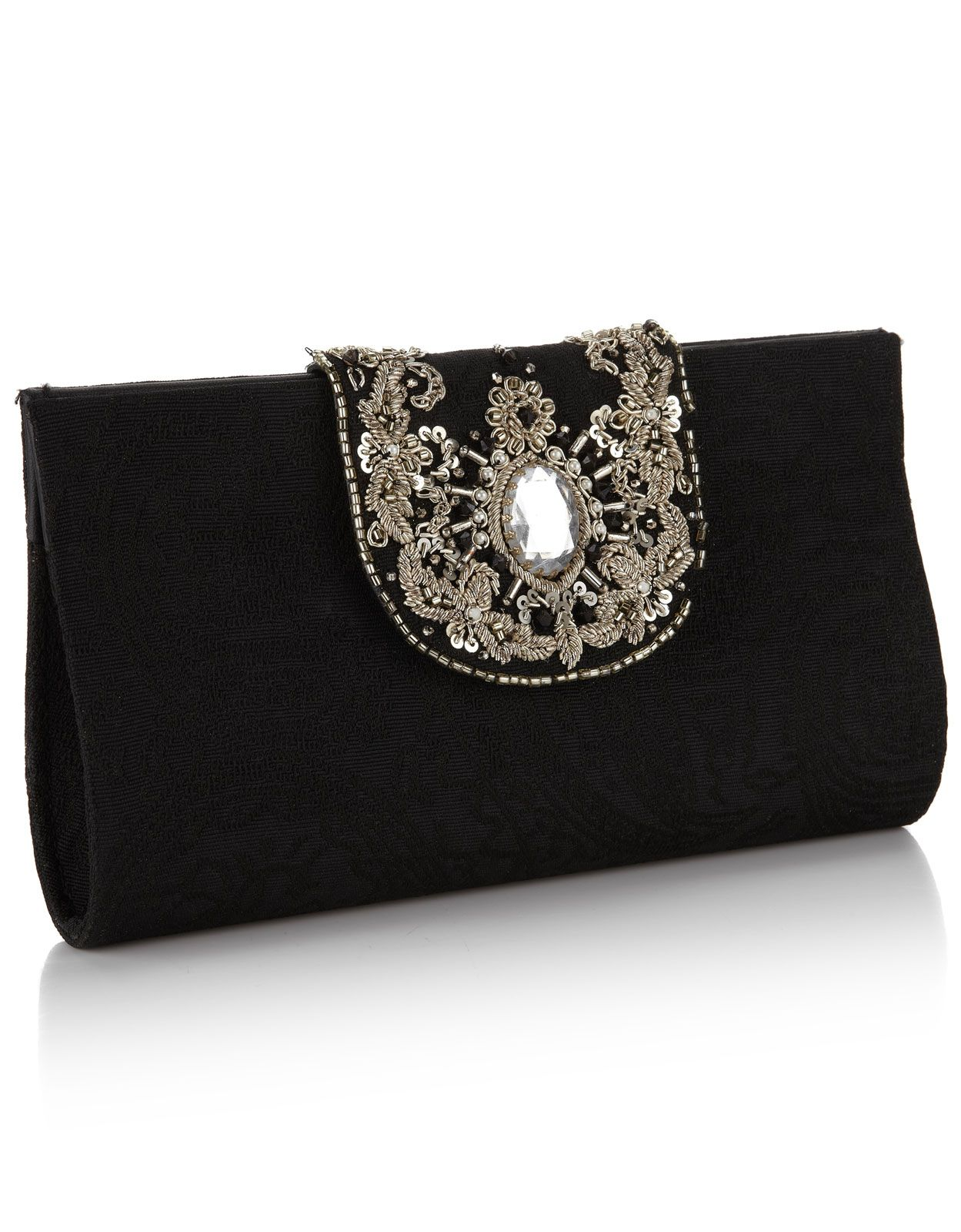 Pochette à Fermoir Joliment Décorée Chamis Noir Monsoon Embellished Clutch Bags Evening Clutches