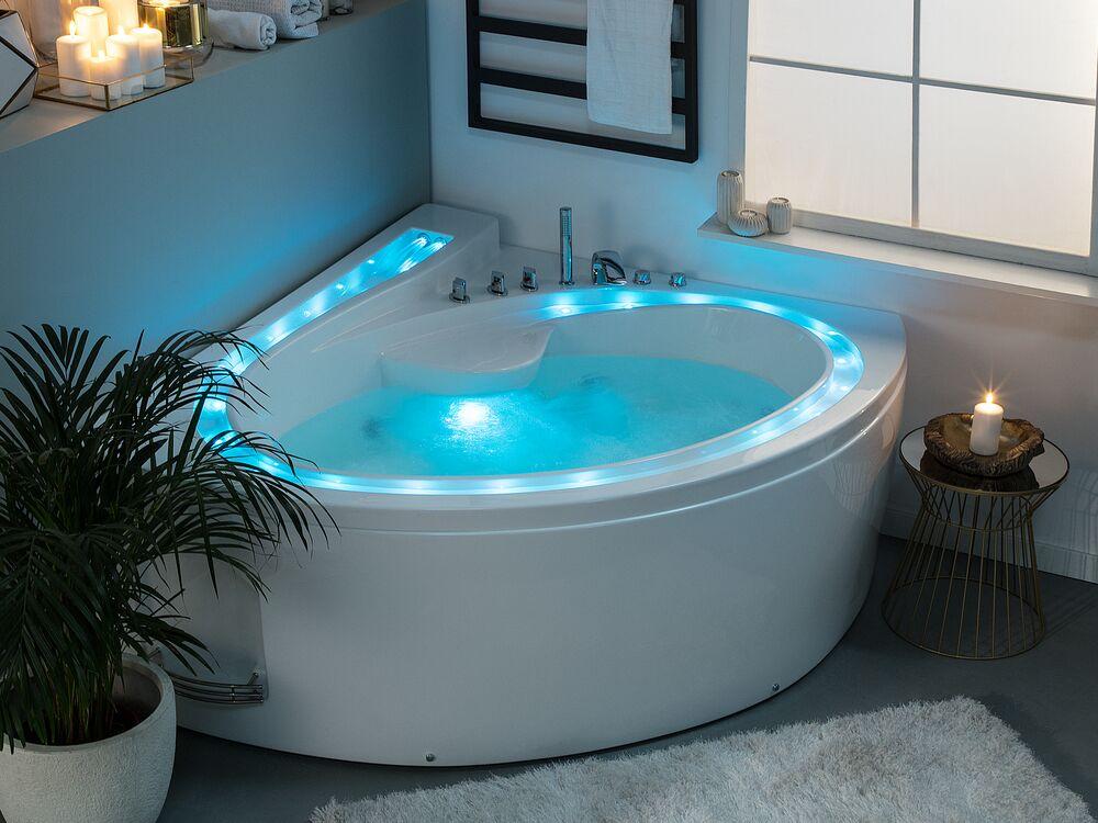 Left Hand Whirlpool Corner Bathtub with LED White PELICAN