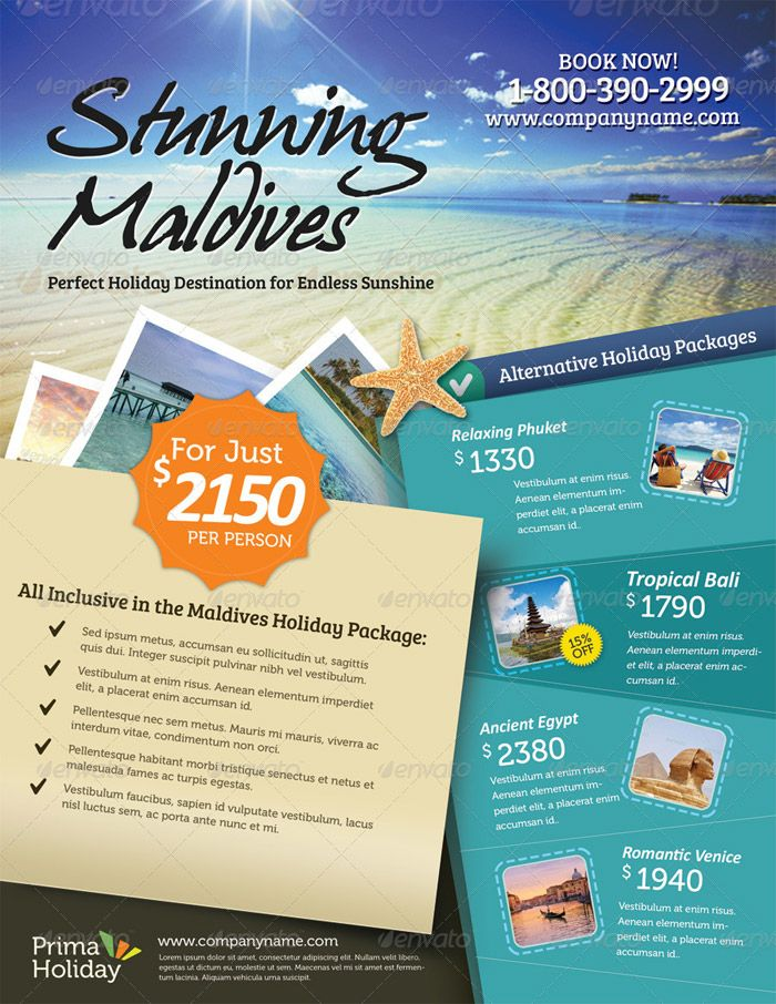10 holiday travel flyer 6 tourism poster for Cruise brochure template