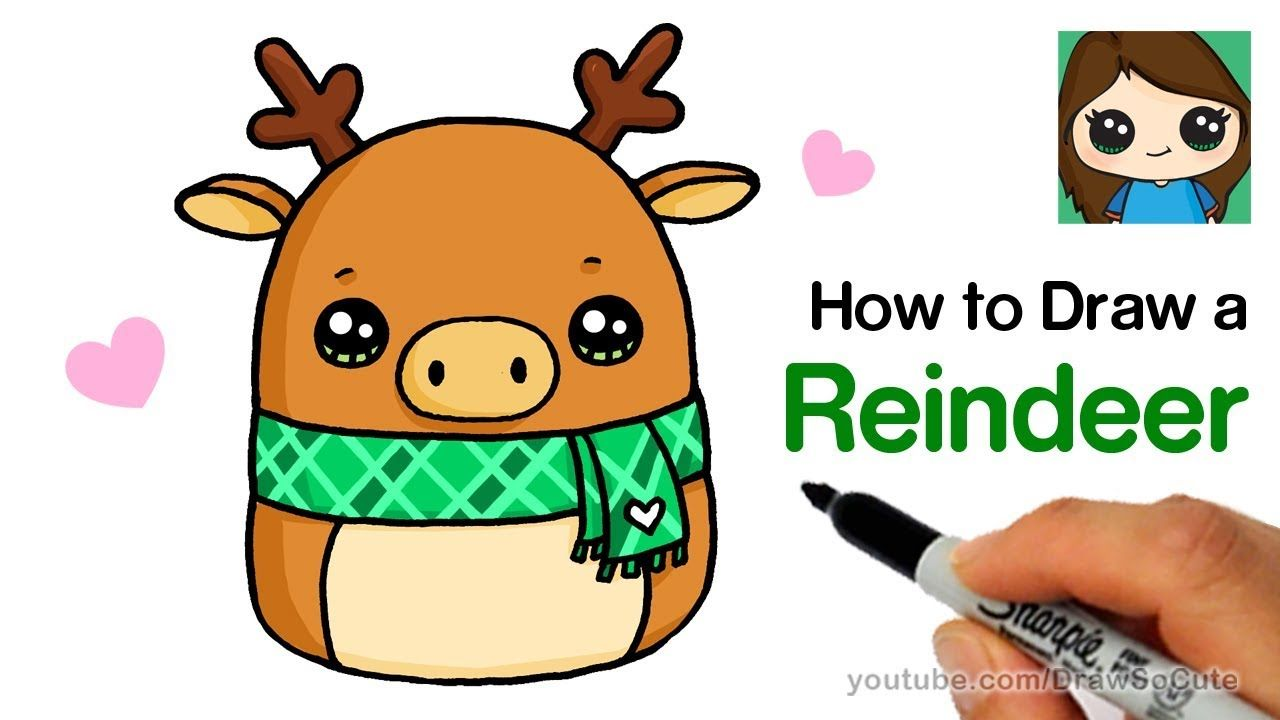 How To Draw A Reindeer Easy Squishmallows Youtube Cute Little Drawings Easy Cartoon Drawings Cute Drawings