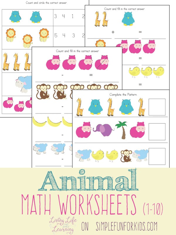 animal math worksheets 1 10 school homeschool math worksheets homeschool math. Black Bedroom Furniture Sets. Home Design Ideas