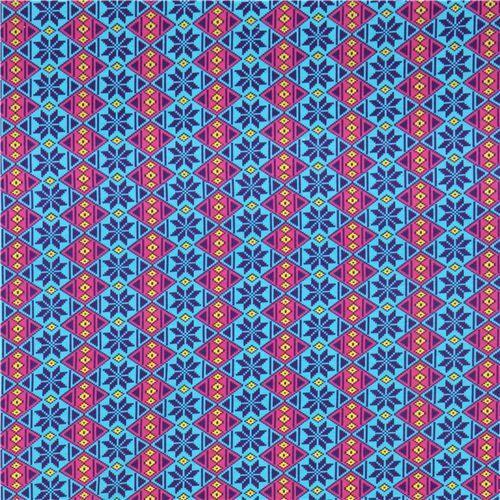 turquoise argyle pattern Michael Miller interlock fabric | Michael ...