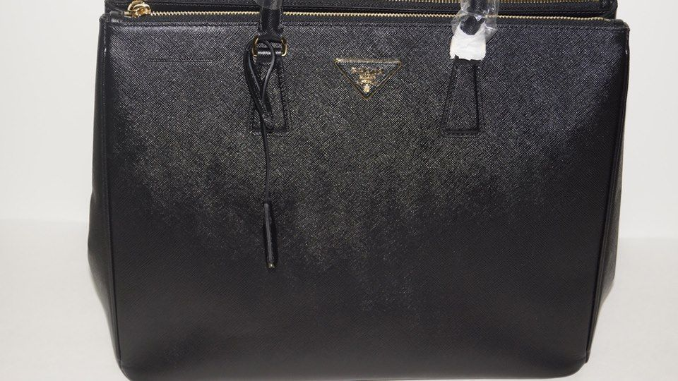 f3cdb419ead0dc Italy Brands Outlet PRADA Black BN1802 Saffiano Lux Leather Large Tote
