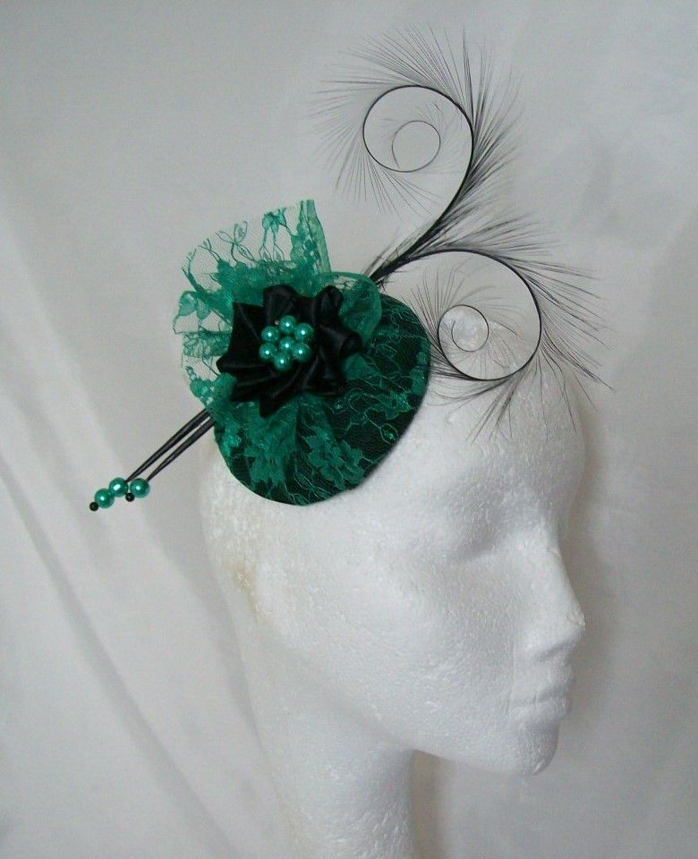 This Emerald Green Black Diana Fascinator Mini Hat Is Made To Order Only Please Allow Up 10 Days For Making Plus Shipping Materials