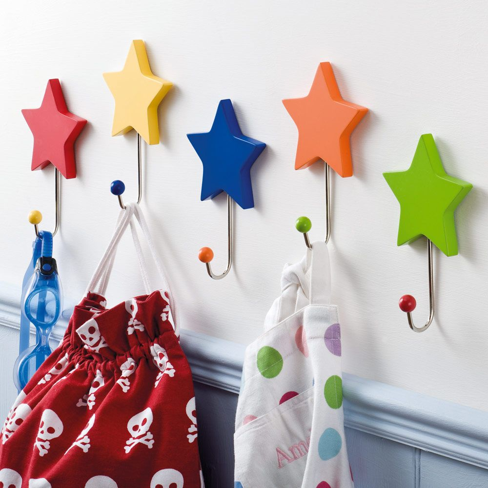 Rainbow star hooks set of 5 coat stands peg rails for Kids room hooks
