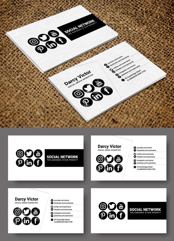 Social Promoter Business Card Social Media Business Cards Media Business Cards Personal Business Cards
