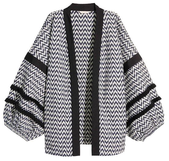 veste large a motif zig zag noir et blanc manches bouffantes et col noir soldes h m. Black Bedroom Furniture Sets. Home Design Ideas