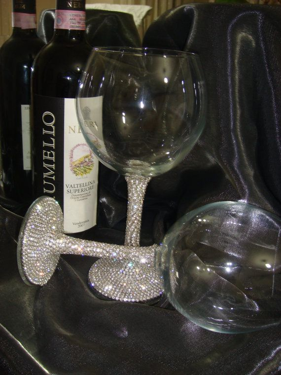 Custom designed handmade pair of wine glasses with Czech by Arzus, $48.00