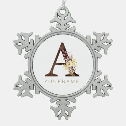 Floral Monogram A Rich Autumn Foliage Snowflake Pewter Christmas Ornament | Zazzle.com #autumnfoliage
