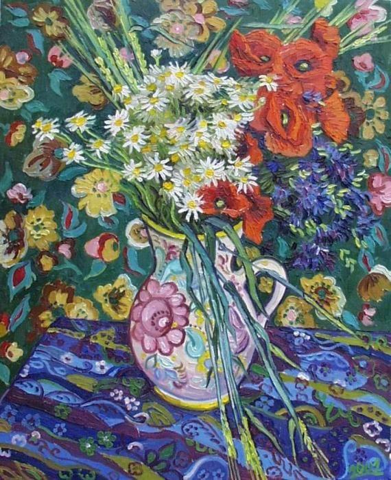Poppies In Clay Jug By Vitali Komarov With Images Van Gogh