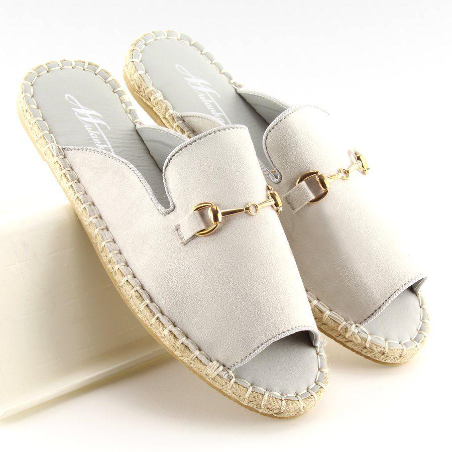Pozostale Klapki Damskie Obuwiedamskie Espadryle Open Toe Szare 99 3 Grey Obuwie Damskie Women Shoes Shoes Espadrilles